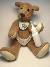 ARTIST BABY TEDDY BEAR VINTAGE VELOUR FABRIC LEATHER PAWS Diaper Bib Bot... - $19.79
