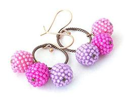 Pink Purple Beaded Ball Tassel Statement Earrings, Round Sphere Earrings - $20.00