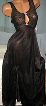 Black Stretch Keyhole Lace Bodice Long Nightgown S Nylon Gowns Slit - $23.00