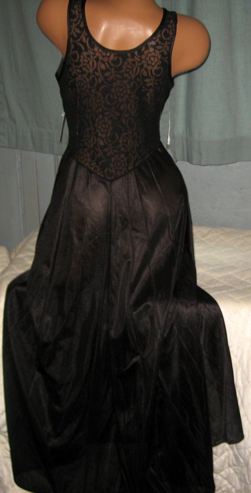 Black Stretch Keyhole Lace Bodice Long Nightgown S Nylon Gowns Slit