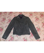 $249 CHRISTIAN WEBER GRAY CHARCOAL DEER LEATHER MOTORCYCLE CROPPED JACKET S - $89.99