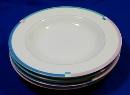 "Jet Set by Mikasa L5543 LOT of 4 RIMMED 8.5"" SOUP BOWLS china pink blue S616359 - $49.99"