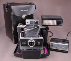 Vtg Polaroid 360 Land Camera-Electronic Flash-Fast Charger 363-Faux Leat... - $121.54