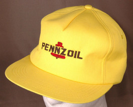 Pennzoil Hat-Adjustable-Trucker-Hipster-Vintage-Yellow-Foam Lined-Automo... - $31.57