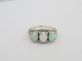 Vintage Sterling Silver Fire Opal Filigree Three stone Ring Size 5.75 - $60.00