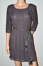 GOLD HAWK Silk Brown Beaded Evening Party Occasion Dress sz Small S Gown... - $50.25