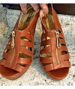 MICHAEL KORS MK Women's Shoes Chestnut Brown Leather Zip High Heel Sanda... - $29.65