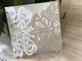 Pearl Cream Vintage Invitation cards,50pcs Laser Cut Wedding Invitation - $59.20