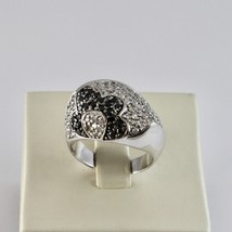Silver Ring 925 with Flower of Zircon Cubic White and Black image 1