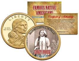 CRAZY HORSE *Famous Native Americans* Sacagawea Dollar US $1 Coin LAKOTA... - $8.86