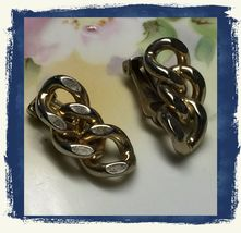 VTG 50s/60s Signed CORO Gold Tone Curb Chain Triple LInk Clip On Earring... - $7.99