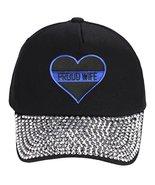 Thin Blue Line Proud Wife - Adjustable Black Cap Womens (Black Rhinestone) - $23.71