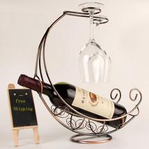 Metal Wine Rack Hanging Wine Glass Holder Pirate Ship Shape Bar Wine Holder - $30.99