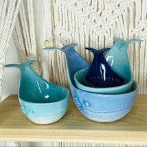 NWT Anthropologie Whale Tale Ceramic Measuring Cups Stoneware Shades of ... - $48.99