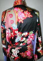 NWT New Designer Natori Wrap Robe Womens S Silky Satin Flowers Blue Red White image 10