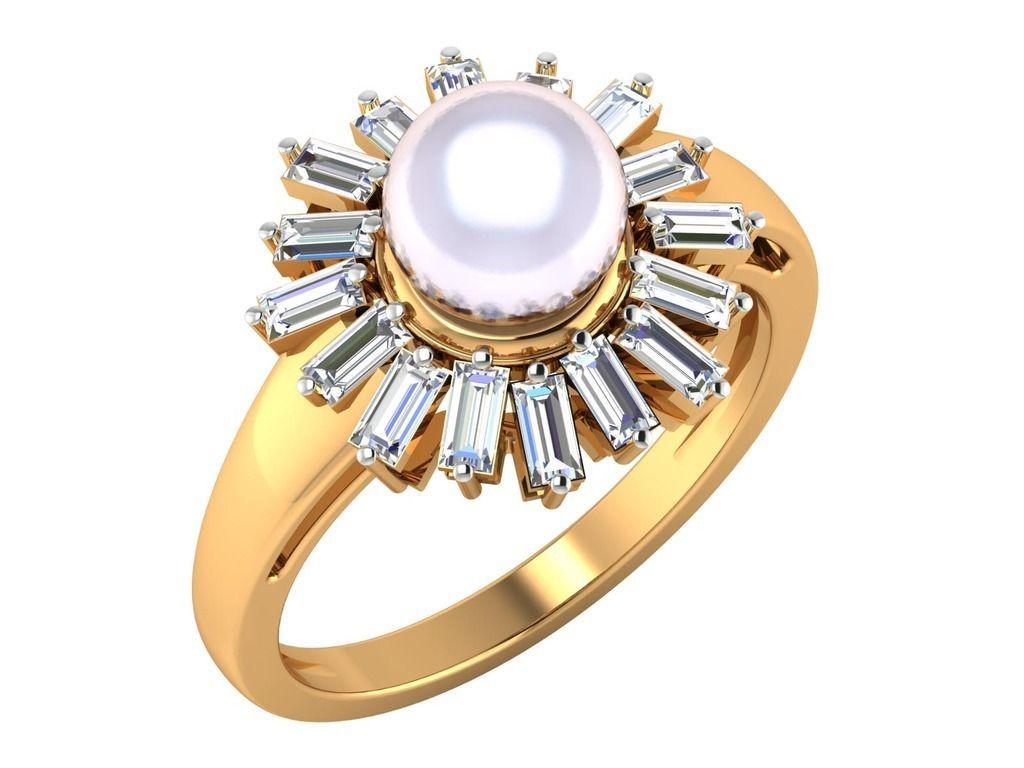 14k yellow gold 0.96ct Untreated Genuine Diamond Freshwater Pearl Ring