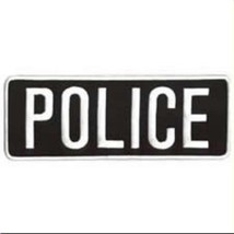 Police White Black 4 x 11 Jacket Back Emblem Patch Sew On Embroidered New - $11.73
