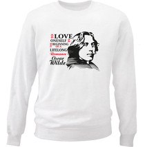Oscar Wilde To Love Oneself - New White Cotton Sweatshirt - $33.65