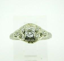 Art Deco 18k White Gold Filigree .46ct Genuine Natural Diamond Ring (#J4... - $995.00