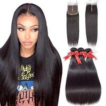 Allrun Hair Straight Hair Bundles with Closure Middle Part16 18 20+14clo... - $58.55