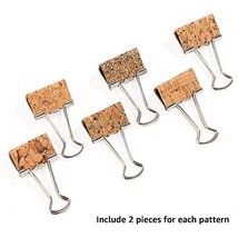 Silver Woodgrain Leather Paper Clamps, Wooden Surface DIY Binder Clamp, ... - $10.04