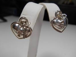 TIFFANY &Co Heart Padlock Lock & Key Keyhole Earrings Sterling Silver Italy Rare - $344.83