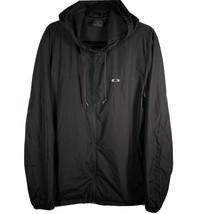 Oakley Men's Sz Large Black Windbreaker Full Zip Lightweight Jacket Smal... - $29.74