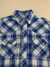 Wrangler Button Up Shirt Mens Sz M Blue White Plaid Cowboy Western Snap ... - $22.95