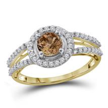 10kt Yellow Gold Round Brown Color Enhanced Diamond Bridal Wedding Ring - £543.46 GBP