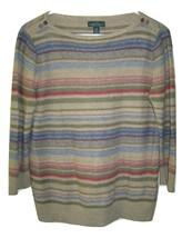 Ralph Lauren LRL 100% Linen Womens Striped Southwest Sweater size L Large - $24.74