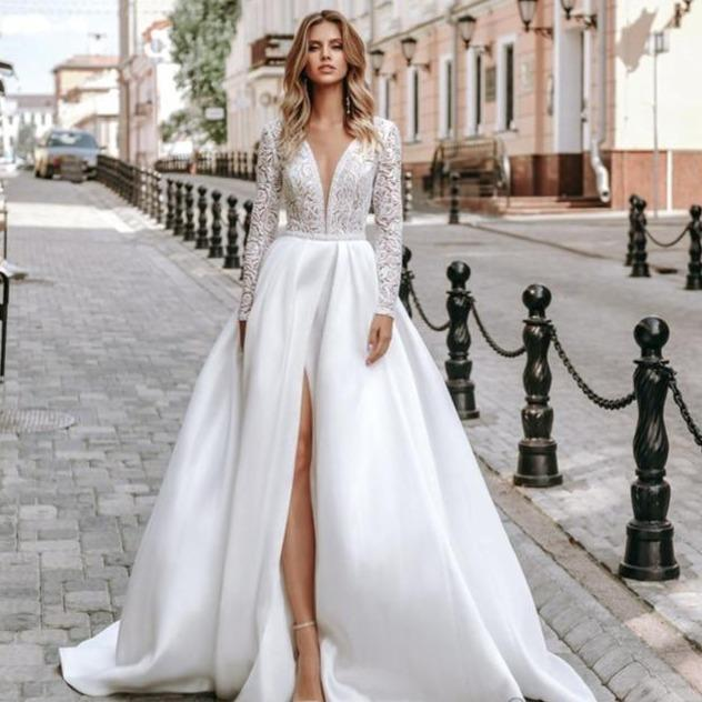 Lorie long sleeve lace wedding dresses satin bridal gown a line 2019 v neck beach wedding