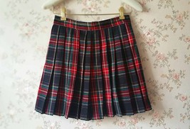RED PLAID SKIRT Women Girl Pleated Plaid Skirt School Style Plaid Skirts NWT