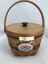 Longaberger Christmas Collection 1994 Jingle Bell Basket with Lid, Prote... - $33.24