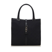 Pre-Loved Gucci Black Canvas Fabric GG Jackie Tote Bag Italy - $368.39