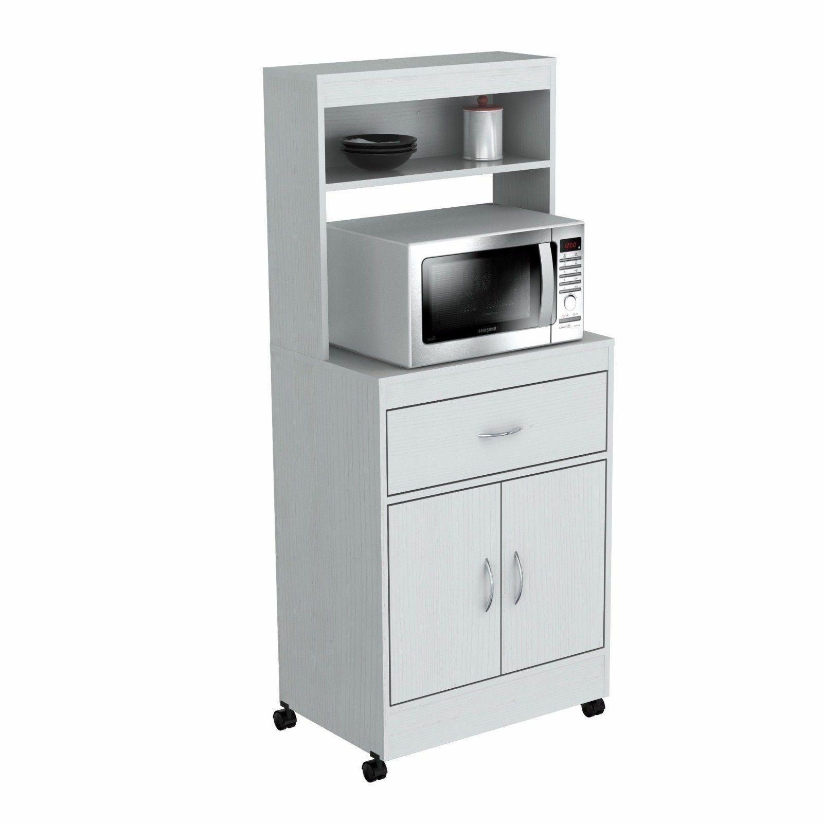 White Wood Tall Microwave Cart Kitchen Storage Cabinet