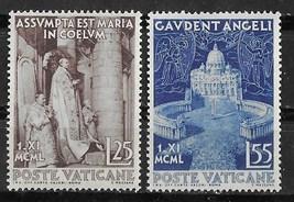 1951 The Assumption Set of 2 Vatican Postage Stamps Catalog Number 143-44 MNH