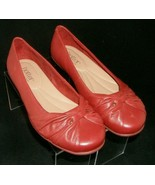 Hotter Appledore red leather knotted round toe slip on loafer flats 6.5 ... - $35.17