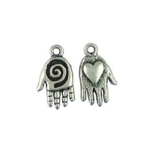 HAND WITH SPIRAL AND HEART FINE PEWTER CHARM PENDANT - 20mm  x 12mm x 3mm