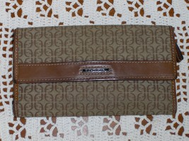 Fossil Clutch Wallet Brown Logo Leather Jacquard Organizer Checkbook Purse SL800 - $29.99