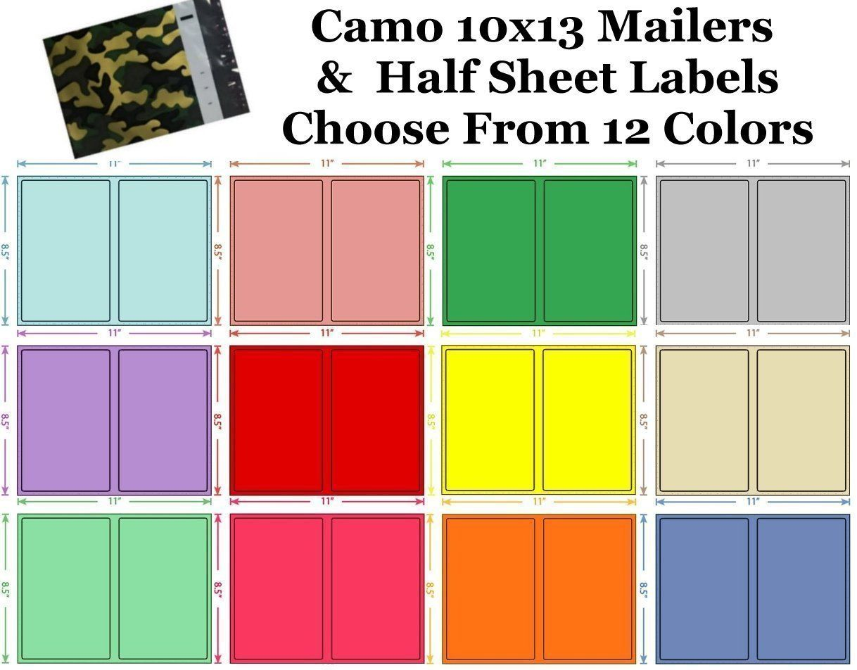 10x13 ( Camo ) Poly Mailers + Colored Half Sheet Self Adhesive Shipping Labels