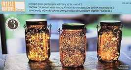 Outside Inside Garden Colored Glass Garden Jars with Fairy Lights - Set ... - $47.67