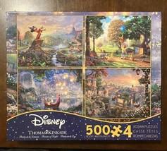 Thomas Kinkade Disney Puzzles 4x 500pc Tangled Fantasia Winnie Pooh Lady Tramp - $25.25