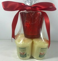 Yankee Candle Christmas Cookie 4 Votives & Red Glass Reindeer Holder New - $14.84