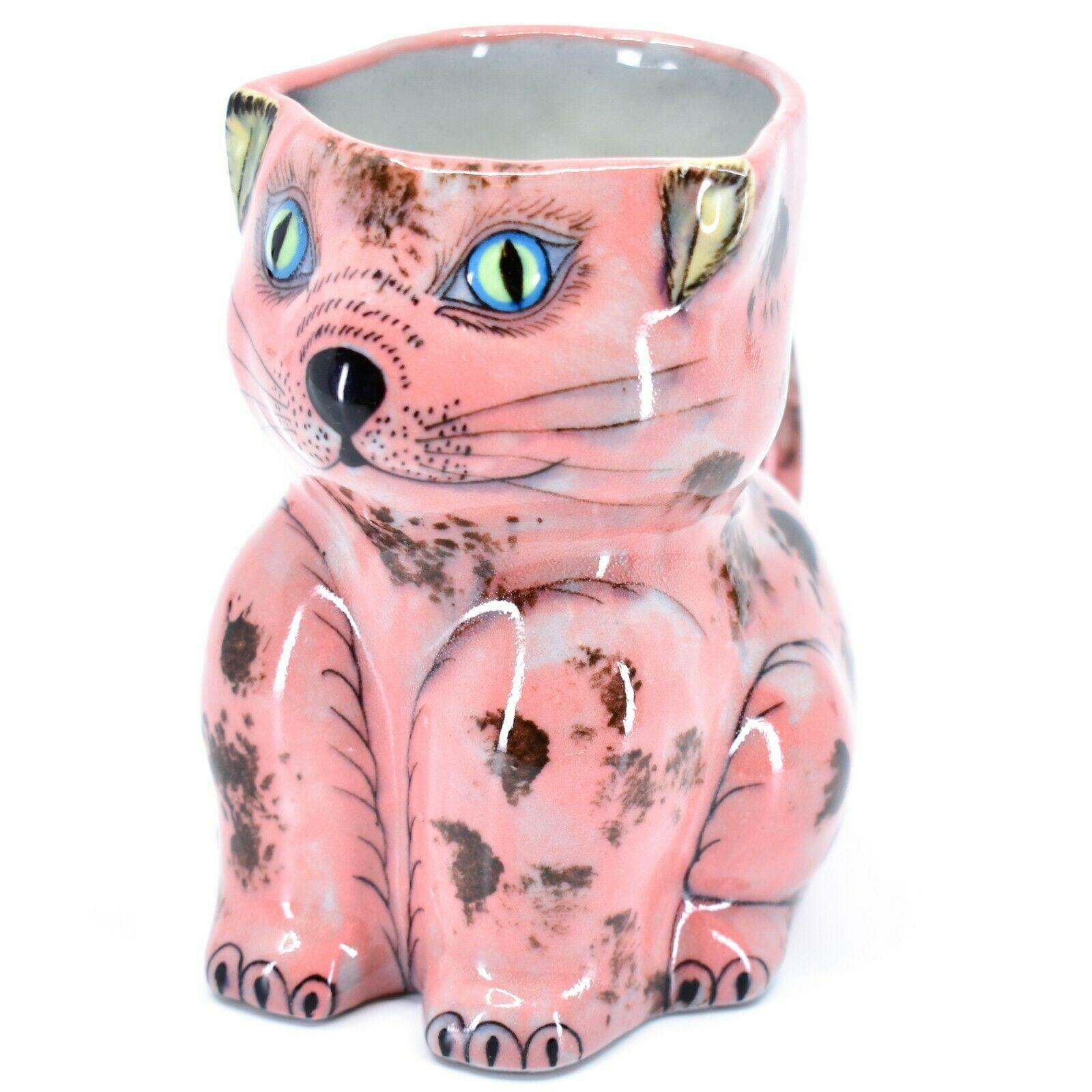 Ceramic Hand Painted Kitten Cat Figure Coffee Cup Mug Handmade Guatemala