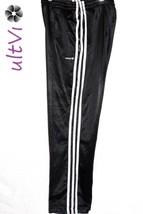 Adidas sz XL Boys black athletic pants 3 zip Pockets three white stripes - $6.99