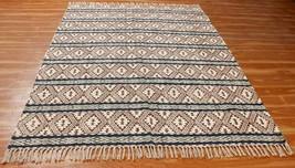 Cotton Handmade Dhurrie Boho Area Rug Hand Block Printed Rug 6x9 ft Flat... - $40.92+
