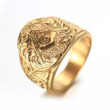 Gold Mens Embossed Stamped Freemason Masonic Ring - $99.00