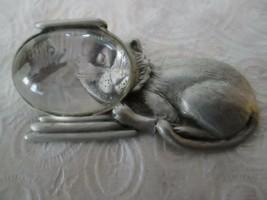 Vintage Signed JJ Jonette Cat & Fish in Bowl Pewter Jewellery Brooch Pin - $13.64
