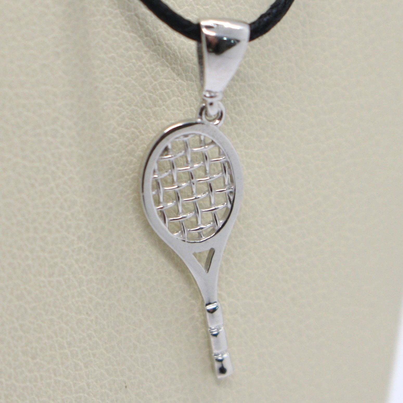 18K WHITE GOLD TENNIS RACKET PENDANT, CHARM, 20 mm, 0.8 inches, MADE IN ITALY