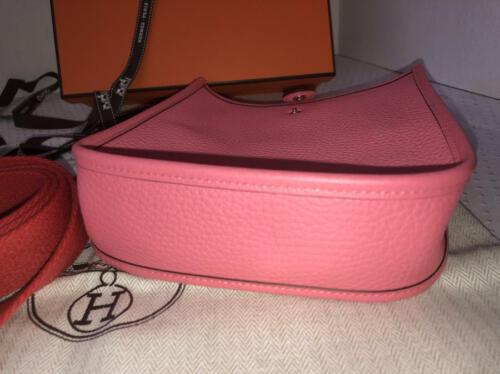 NEW-Auth HERMES Rose Azalea Clemence Evelyne Mini TPM Messenger/Shoulder Handbag image 8